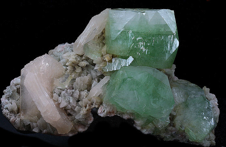 Dark Green Fluorapophyllite Crystals and Stilbite