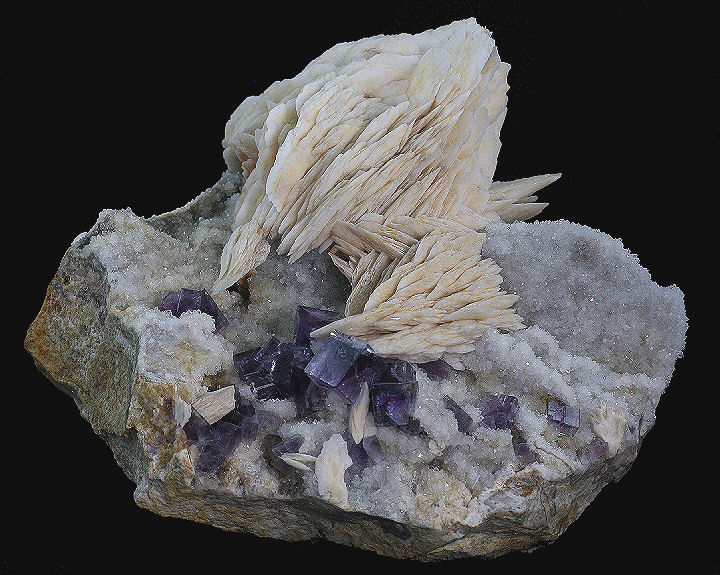 Fluorite and Barite over Quartz Druse on Matrix