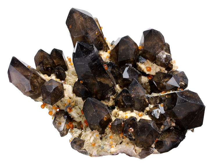 Spessartine Garnets with Smokey Quartz on Orthoclase