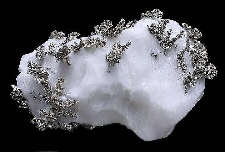 Dyscrasite Crystals on Calcite